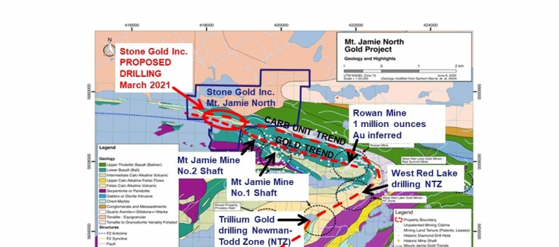 Stone Gold signs drill contract for Mt. Jamie North Property in Red Lake, Ontario